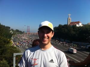 le compte rendu de mon semi-marathon de Lisbonne : départ du pont du 24 avril