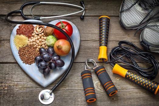 représentation d'un équilibre diététique par le sport et l'alimentation